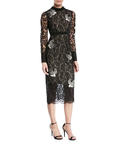 Easha Bird-Embroidered Lace Midi Dress
