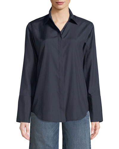 Collared Button-Front Silk Shirt