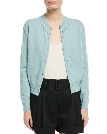 Beaded Wool-Cashmere Cardigan