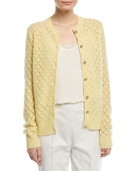 Open-Knit Cashmere Cardigan