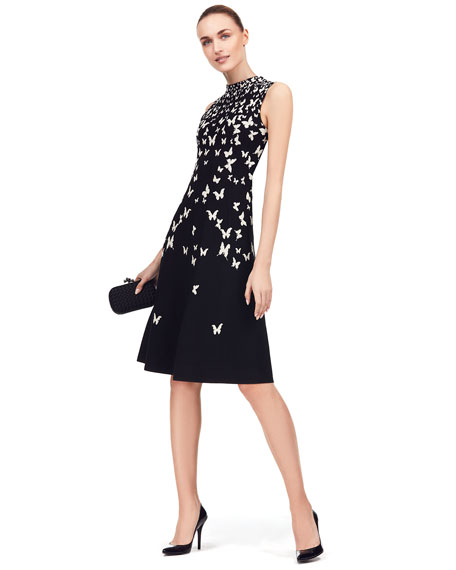 Sleeveless Butterfly-Print Ruched Dress