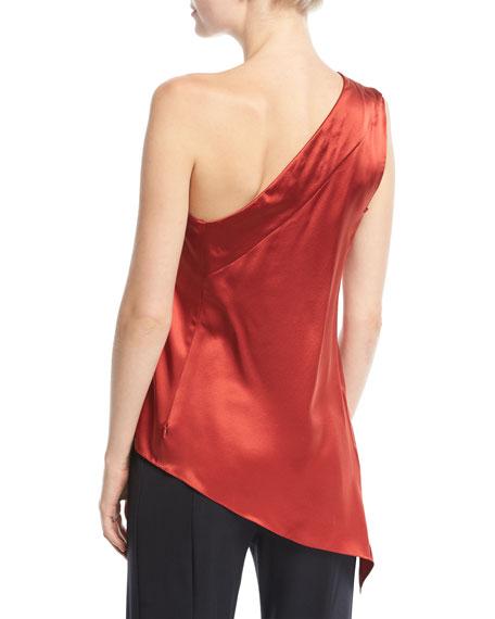 One-Shoulder Handkerchief-Hem Silk Top