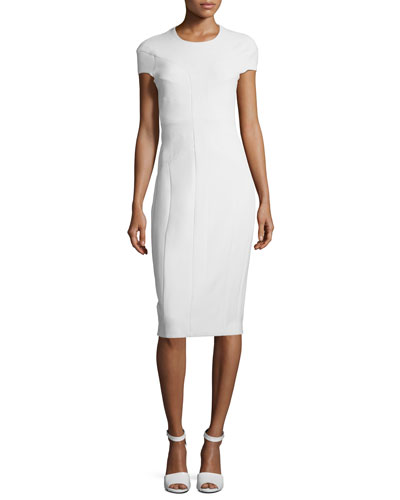 Cap-Sleeve Horizontal Seamed Sheath Scuba Dress