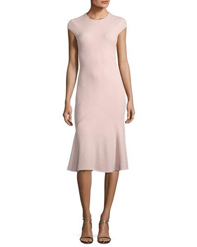 Cap-Sleeve Flounce Godet-Hem Dress
