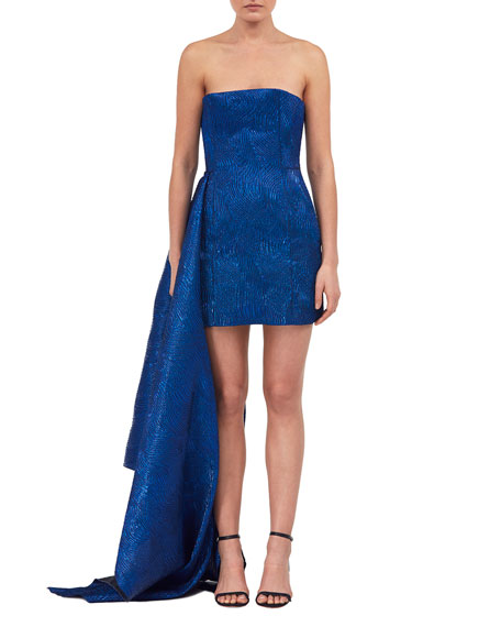 Strapless Bustier Brocade Cocktail Dress with Train