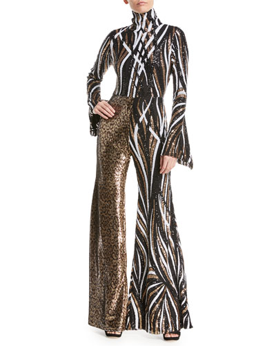 Mixed Sequin-Striped & Leopard Combo Jumpsuit