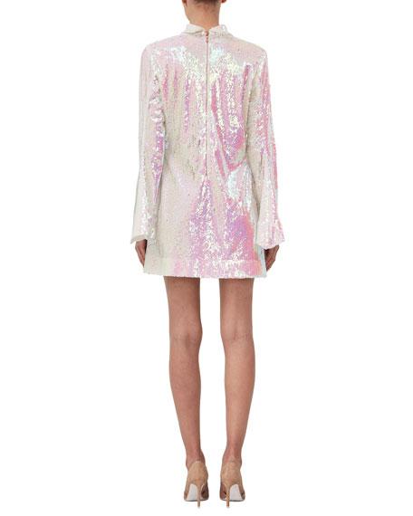 Sequined Long-Sleeve Turtleneck Dress