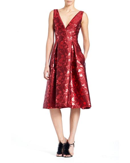 Sleeveless V-Neck Floral-Jacquard Cocktail Dress