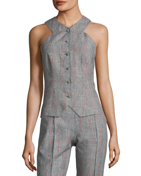 GLEN PLAID LINEN VEST