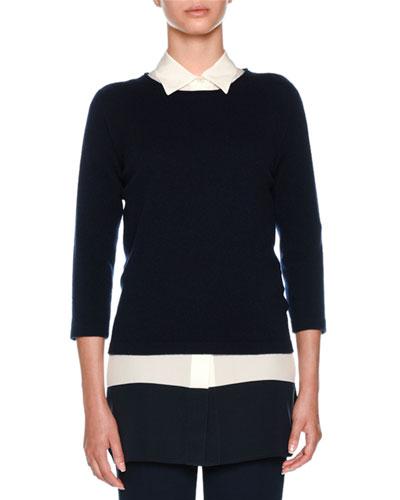 Cashmere Round-Neck 3/4 Sleeve Knit Sweater