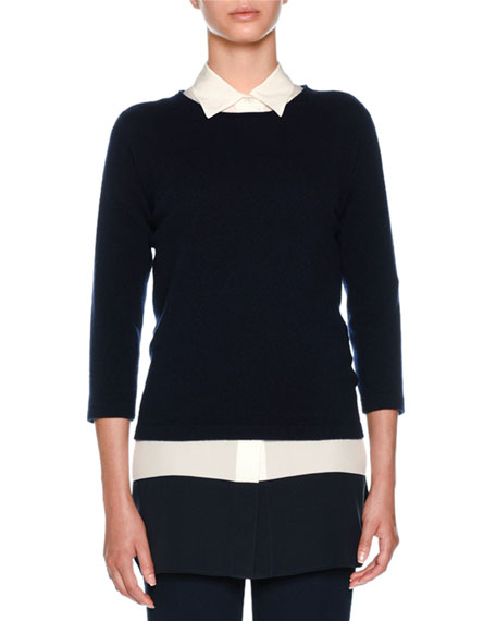Cashmere Round-Neck 3/4 Sleeve Knit Sweater