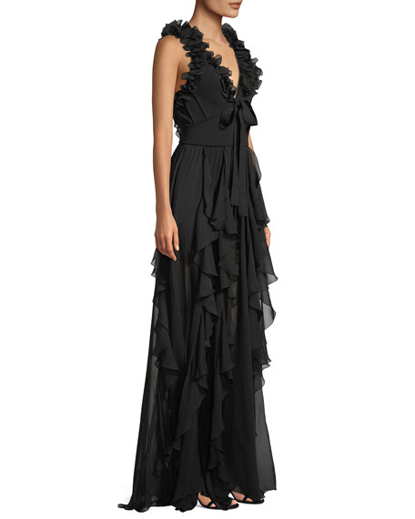 Sleeveless Knit Ruffled Crepe Georgette Evening Gown