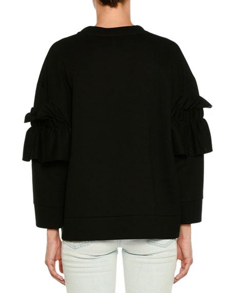 Ruffle-Front Crewneck Sweater