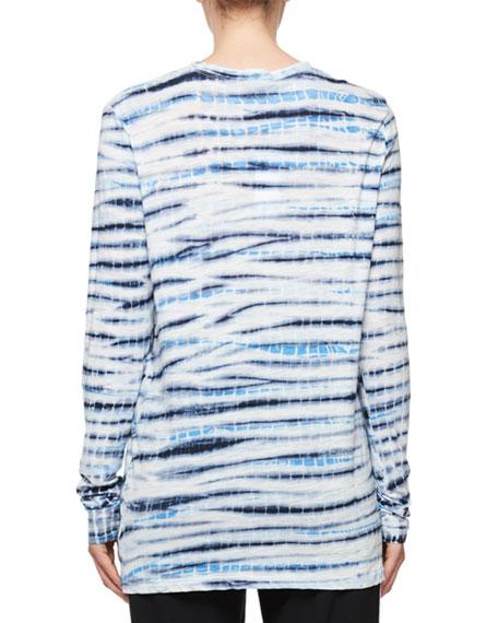 Space-Dye Crewneck Cotton Top