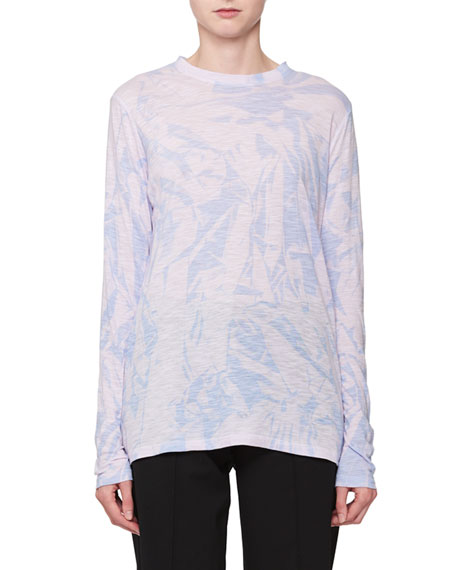 Long-Sleeve Tie-Dye Crewneck Top