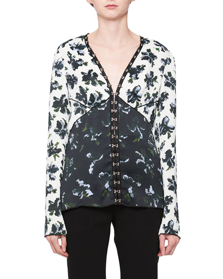 Floral-print V-neck blouse Proenza Schouler Good Selling Online To Buy Clearance Geniue Stockist GYKqyQUR