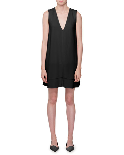 Sleeveless V-Neck Dress w/Lace-Up Back