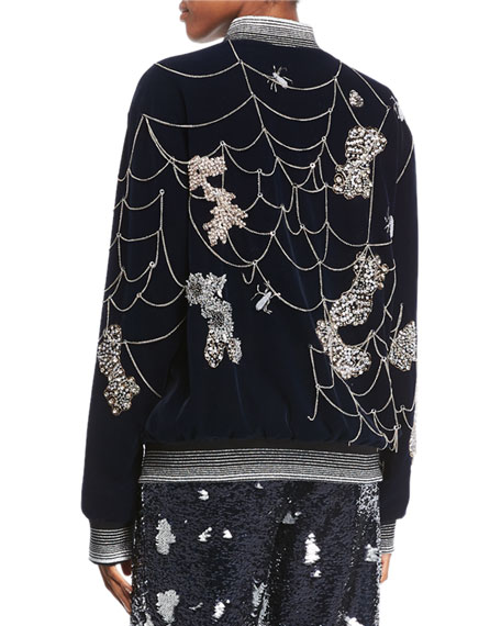 Spider Web-Embroidered Bomber Jacket