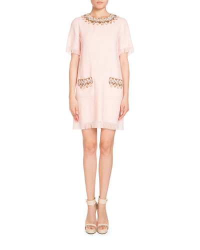 Short-Sleeve Beaded Linen Dress