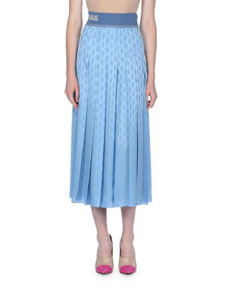Crepe Satin Jacquard Midi Skirt