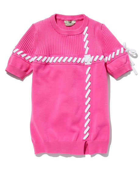 Short-Sleeve Whipstitched Sweater