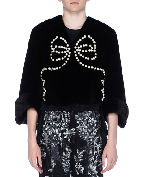 3/4-Sleeve Pearly Beaded Mink Fur Jacket