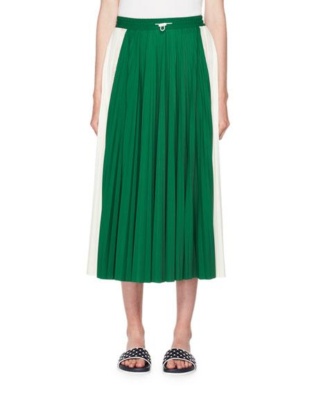 Pleated Jersey Midi Skirt