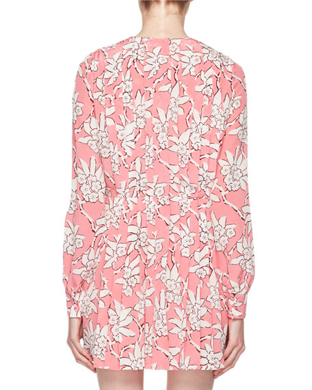 Rhododendron-Print Crepe de Chine Dress