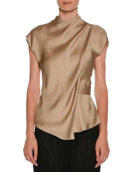 High-Neck Cap-Sleeve Silk Charmeuse Blouse