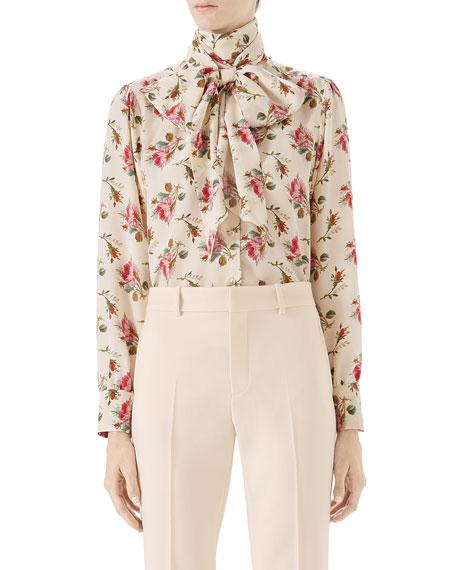 Rose-Print Silk Shirt