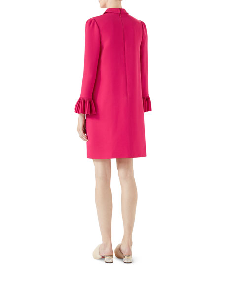 Cady Crepe Wool/Silk Dress with Pleated Detail