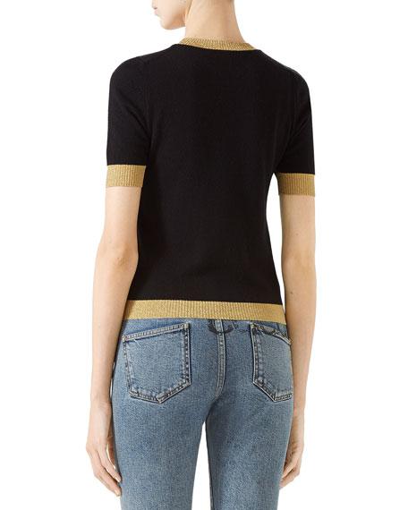 Short-Sleeve Cashmere/Silk Sweater with Metallic Trim