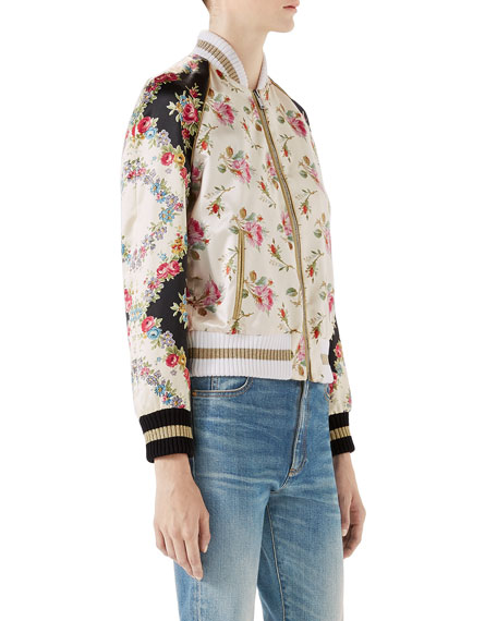 Rose-Print Bomber Jacket with Guccification Applique