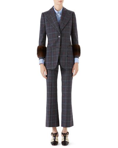 Check Heart-Print Peak Lapel Blazer Jacket w/ Fur Cuffs