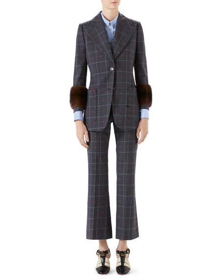 Gucci Check Heart-Print Peak Lapel Blazer Jacket w/