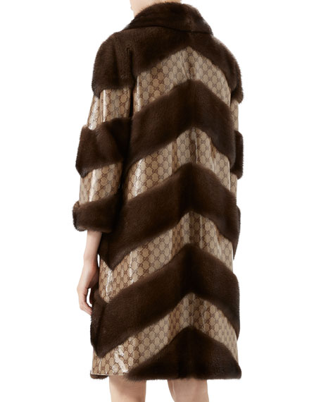 Chevron Fur & GG Jacquard Coat