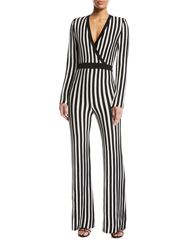 Long-Sleeve V-Neck Straight-Leg Jumpsuit