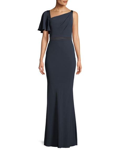 One-Ruffle Shoulder Trumpet Evening Gown