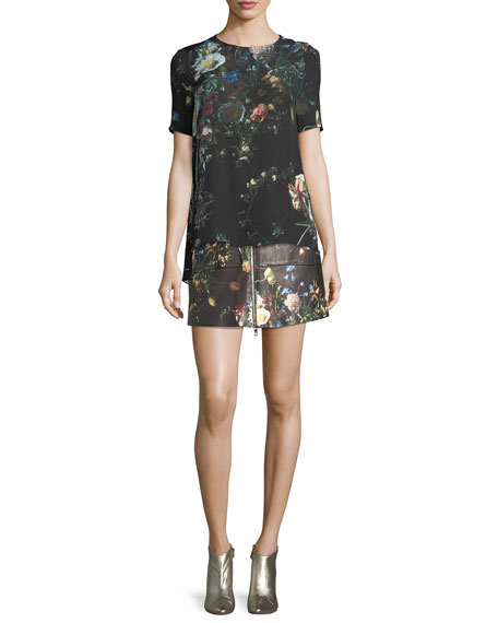 Floral-Print Silk T-Shirt