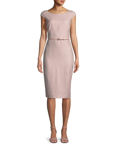 Round-Neck Cap-Sleeve Belted Pencil Dress