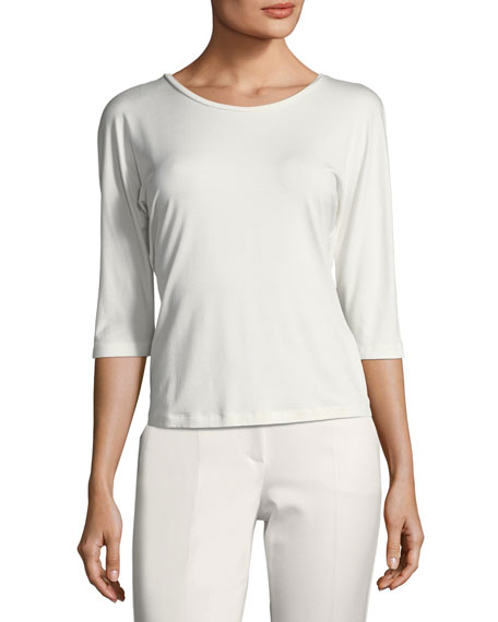 Stretch-Knit 3/4-Sleeve Top