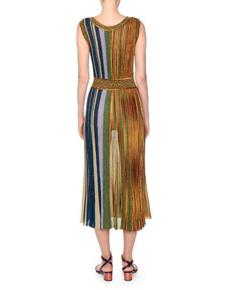 V-Neck Sleeveless Plisse Lamé Reversible Maxi Dress