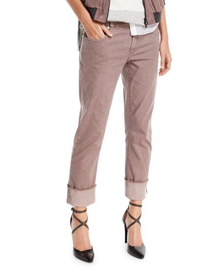 Straight-Leg Large-Cuff Jeans, Purple