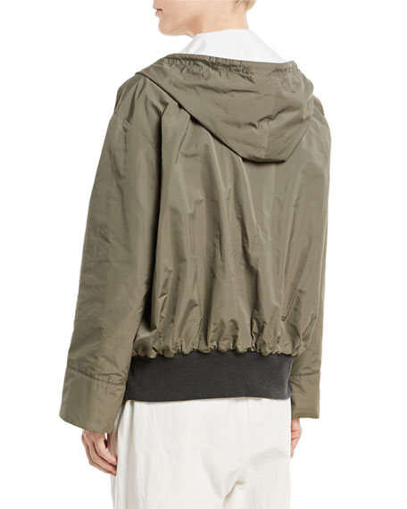 Taffeta Zip-Front Hooded Jacket
