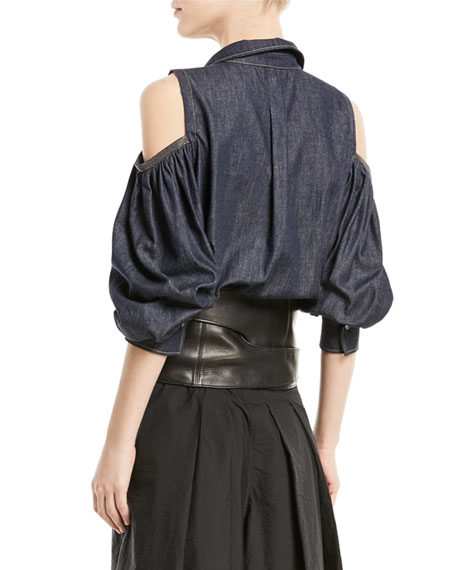 Button-Front Cold-Shoulder Denim Blouse