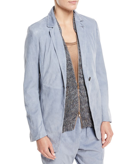 Suede One-Button Blazer Jacket