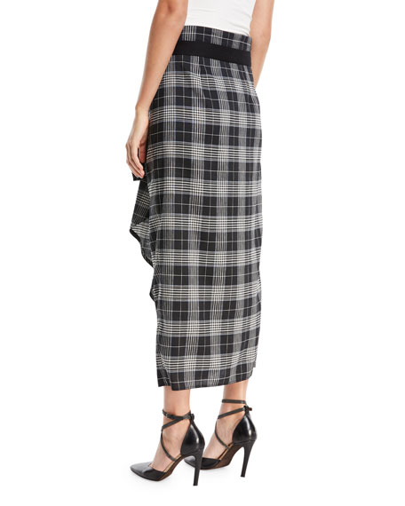 Prince of Wales Check Wrap Skirt with Ruffle
