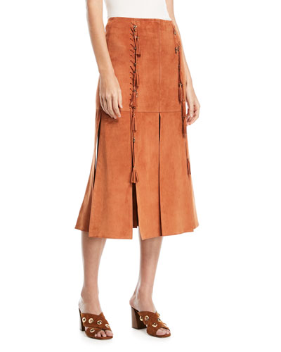 Suede Skirt with Slits & Lacing