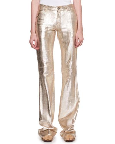 Metallic Textured Leather Flared Pants