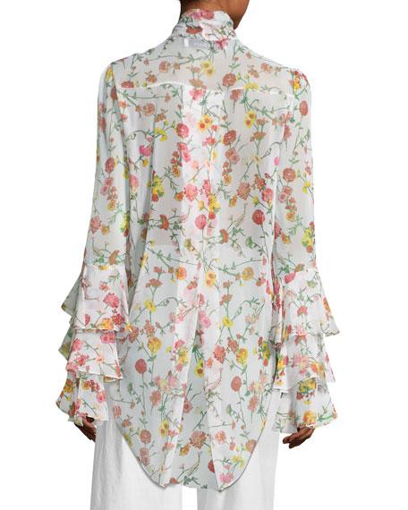 Floral Georgette Tie-Neck Top